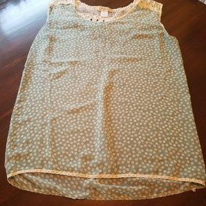 Mint and cream polka dot blouse